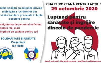 29 Octombrie 2020, Ziua Europeană pentru acțiune – Luptând pentru sănătate și îngrijire dincolo de pandemie